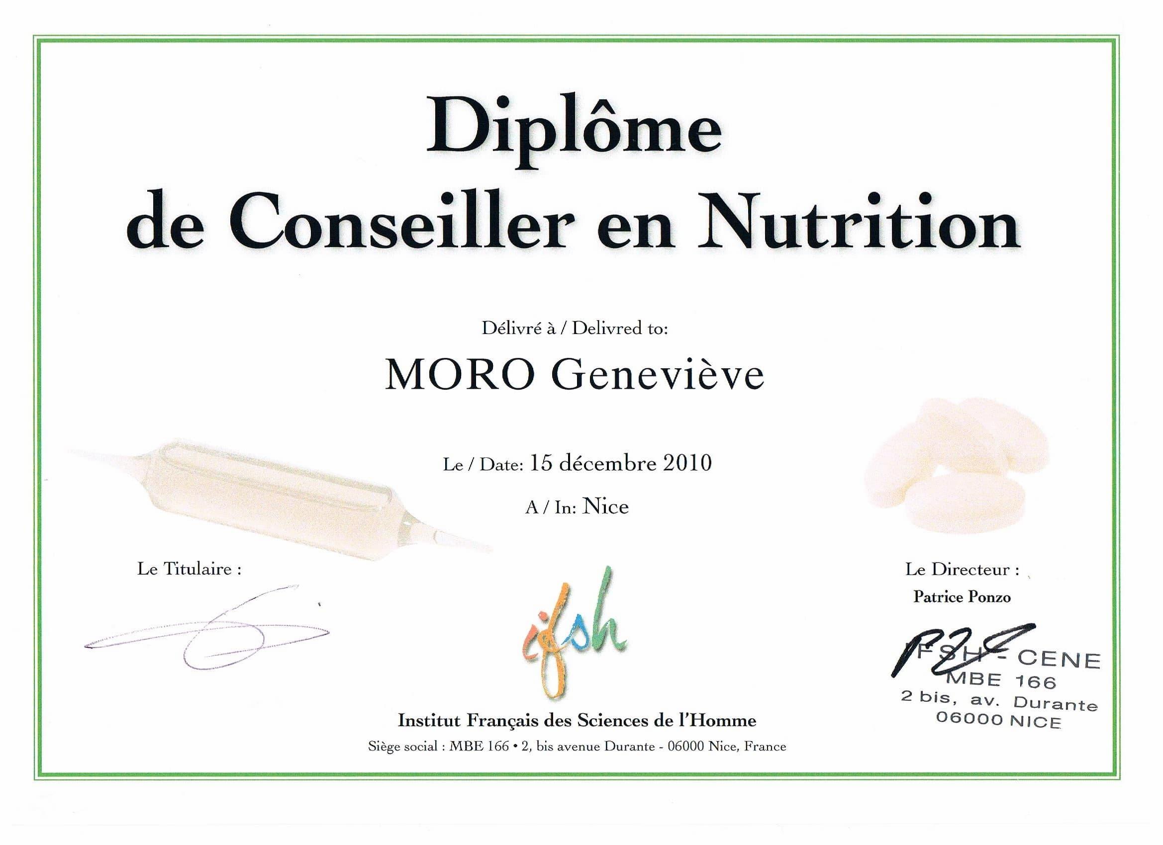 Diplome Conseiller En Nutrition