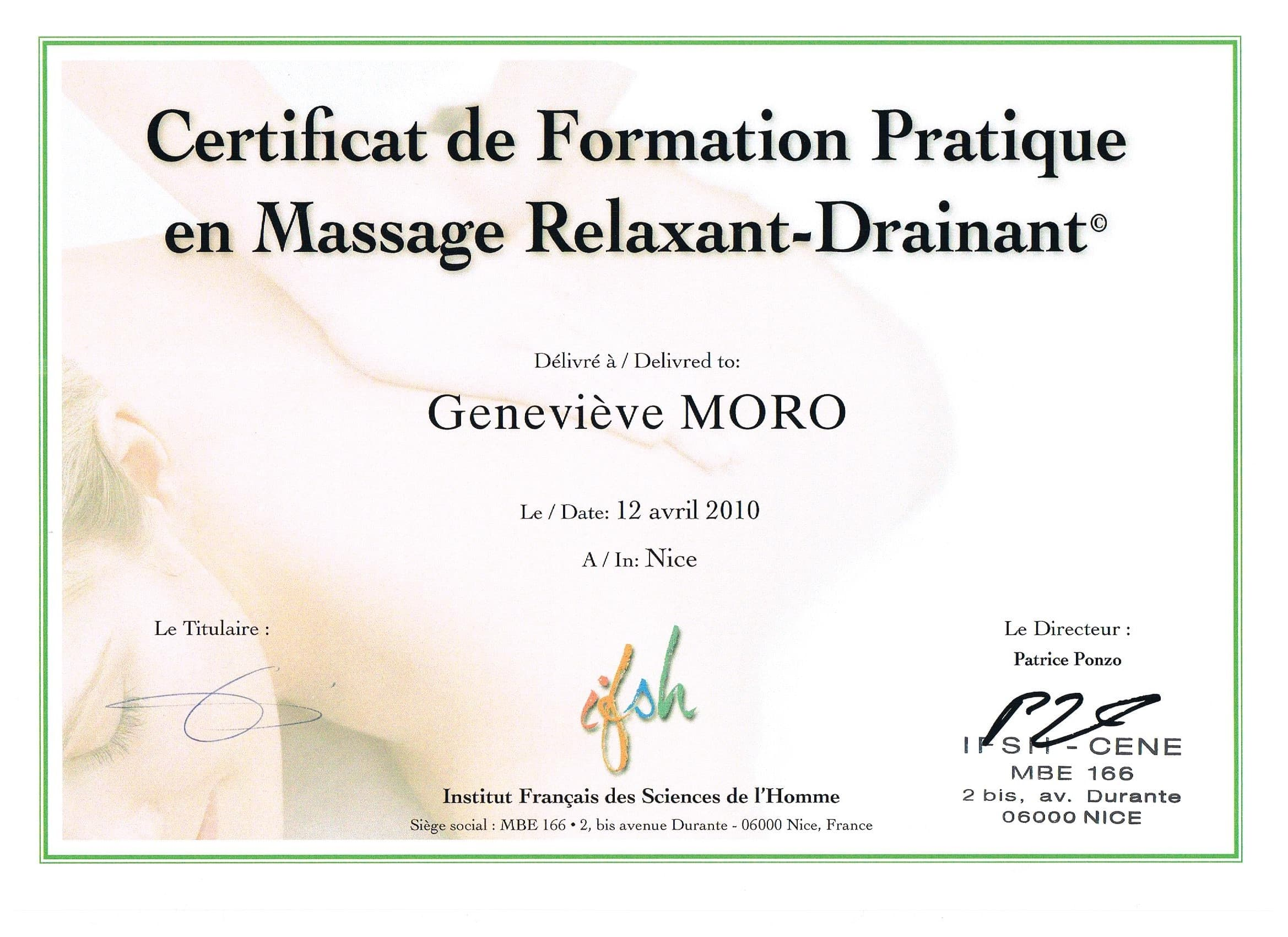 Diplome Massage Relaxant Drainant